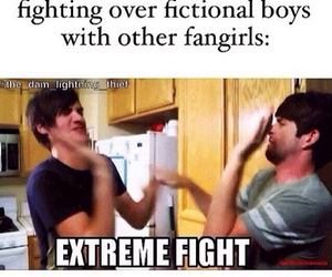 boys, fan, and fight image