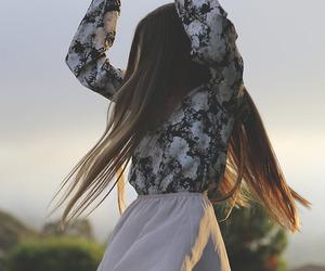 girl, hair, and skirt image
