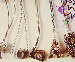 necklace, camera, and owl image