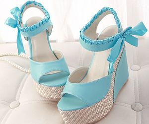 fashion shoes, blue high heel sandals, and peep-toe sandals image