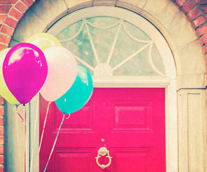 balloons, door, and pink image