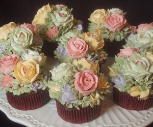 cupcake, flowers, and floral image