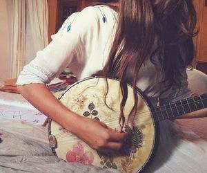 music, banjo, and girl image