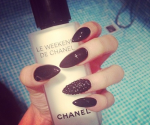 black, nails, and chanel image