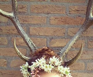 brunette, flowercrown, and colours image