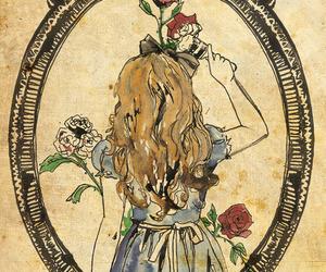 alice, alice in wonderland, and rose image