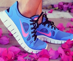 blue, nike, and trainers image