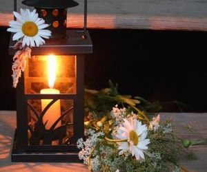 light, candle, and flowers image