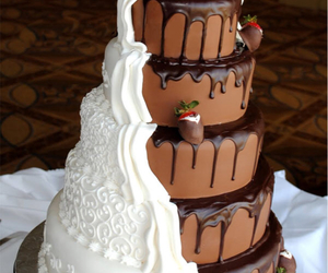 cake, chocolate, and wedding image