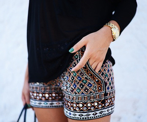 aztec, shorts, and fashion image