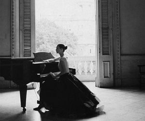 piano, black and white, and dress image
