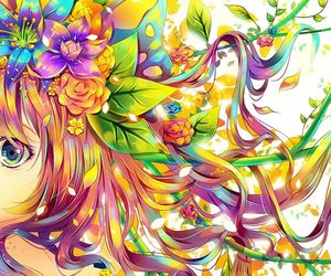 anime, flowers, and colorful image