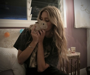 girl, blonde, and bunny image