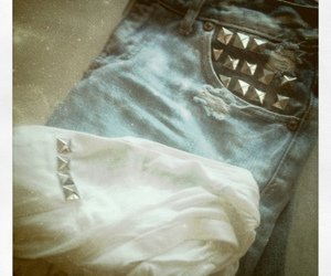 denim, shorts, and studs image
