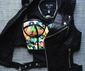 flower print, leather, and sexy image