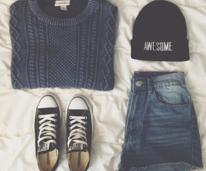 blue, converse, and shorts image