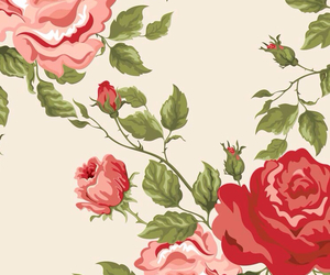 background, rose, and wall image