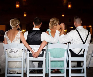 wedding, bride, and groom image