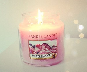 pink, candle, and yankee candle image