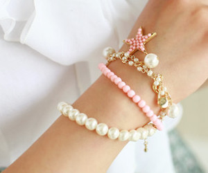bracelet, cute, and pearls image