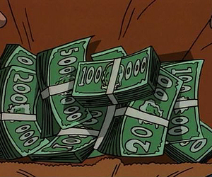 cartoon, money, and 90s image