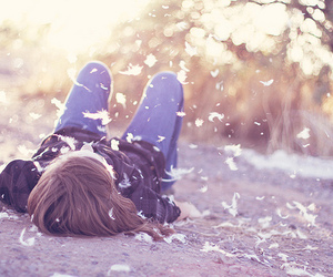 girl, feather, and photography image