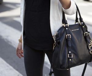 bag, black and white, and hand image