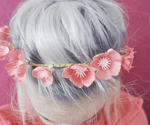 silver hair, hair bun, and floral headband image