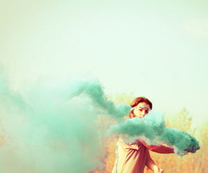 girl, smoke, and blue image