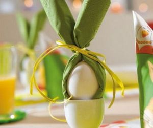 green napkin eared, decoration., and real-natural pieces image