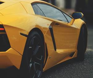 car, lambo, and yellow image