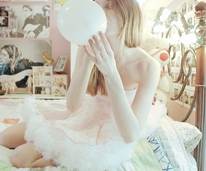 girl, balloon, and pink image
