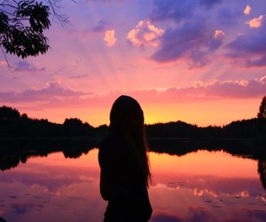 girl, orange, and sunset image