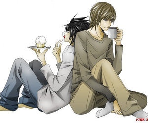 death note, L, and back to back image
