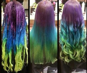 hair, green, and purple image