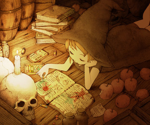anime, skull, and witch image
