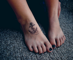 anchor, foot tattoo, and girl image