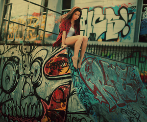 girl and graffiti image