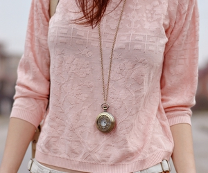 girl, pink, and pocket watch image