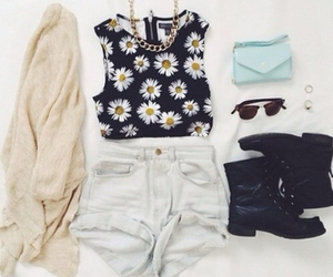 outfit, fashion, and flowers image