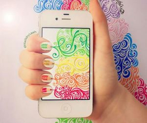 nails, iphone, and art image