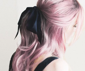 bow, hair dye, and pink image