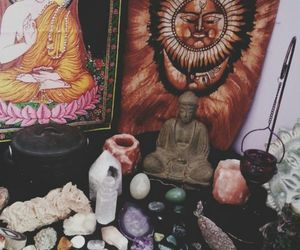 buddah, crystals, and relaxing image