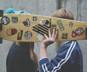 longboard, love, and couple image