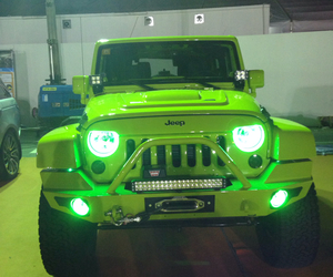 green, jeep, and light image
