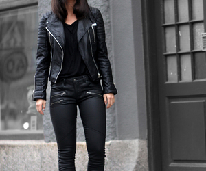 black, leather, and style image