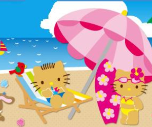 adventure, beach, and hello kitty image
