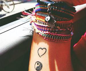 bracelet, tattoo, and heart image