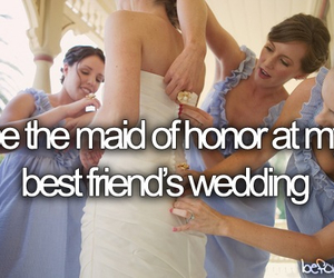 bride, maid of honor, and wedding image