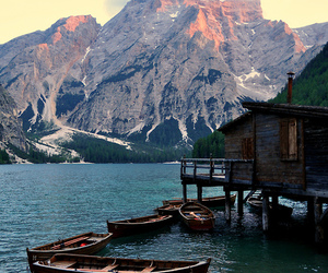 mountains, boat, and beautiful image